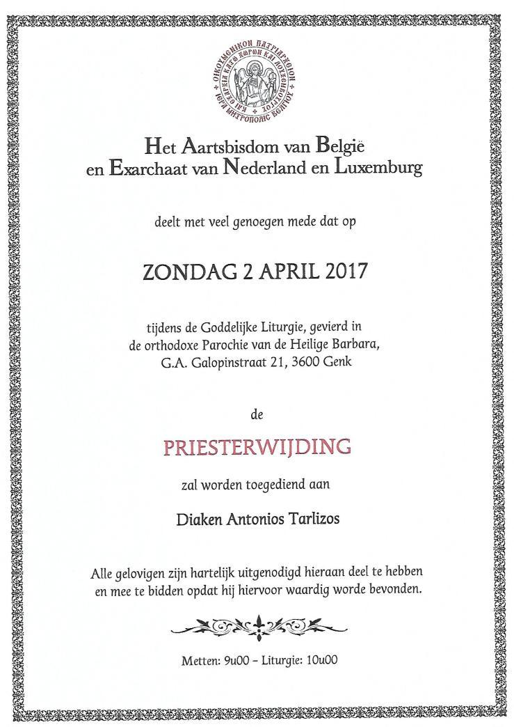 Aankondiging priesterwijding Antonios